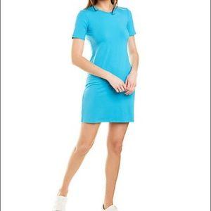 Theory short sleeve t-shirt dress neon blue rubric